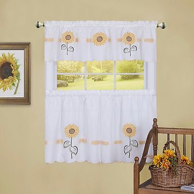 Sunflower Tier & Swag Set Complete Kitchen Curtain Sun Blossom | Ebay Within Chardonnay Tier And Swag Kitchen Curtain Sets (View 43 of 50)
