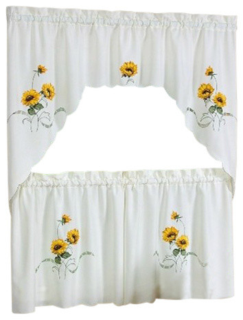 """Sunshine Tier And Swag Set, Ivory/cream, Set Of 2, 36"""" In Seabreeze 36 Inch Tier Pairs In Ocean (View 2 of 30)"""