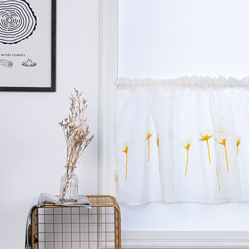 Super Promo) Sheer Lace Kitchen Curtains White Or Ivory Regarding Floral Lace Rod Pocket Kitchen Curtain Valance And Tiers Sets (View 44 of 50)