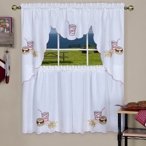 Swag And Tier Sets | Wayfair Within Embroidered Chef Black 5 Piece Kitchen Curtain Sets (View 32 of 42)