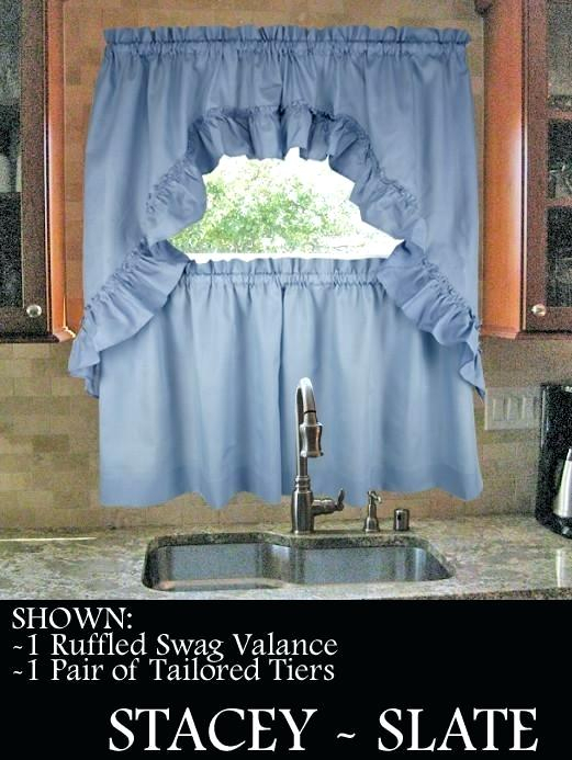 Swag Kitchen Curtains Regarding Sheer Lace Elongated Kitchen Curtain Tier Pairs (#27 of 30)