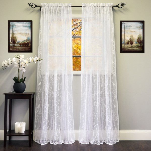 Popular Photo of Ivory Knit Lace Bird Motif Window Curtain