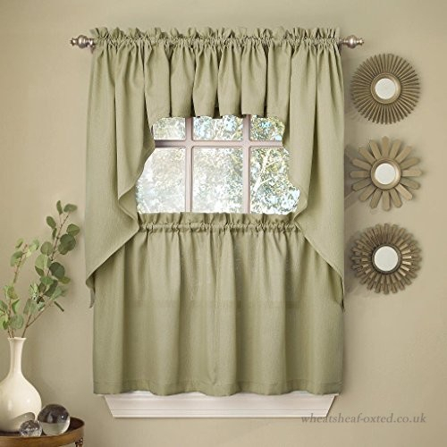 Sweet Home Collection 5 Pc Kitchen Curtain Valance Swag With Barnyard Window Curtain Tier Pair And Valance Sets (View 44 of 50)