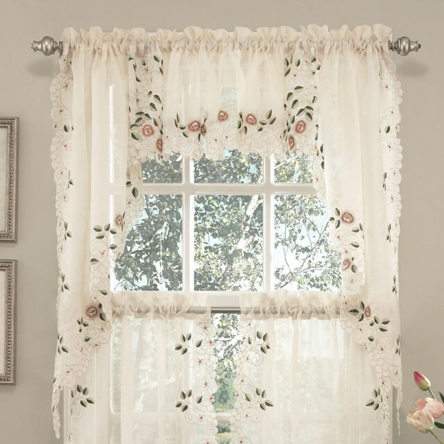 Sweet Home Collection Old World Style Floral Kitchen Curtain Set Of 2 For Semi Sheer Rod Pocket Kitchen Curtain Valance And Tiers Sets (View 6 of 30)