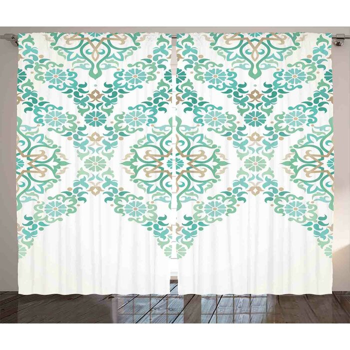 Symmetrical Gothic Garland Graphic Print Room Darkening Rod Pocket Curtain  Panels Intended For Pastel Damask Printed Room Darkening Kitchen Tiers (#38 of 50)