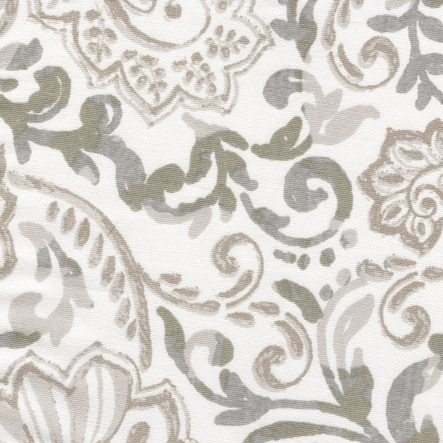 Tailored Valance Shannon Ecru Taupe Floral Paisley Lined Cotton Throughout Tailored Valance And Tier Curtains (#39 of 50)