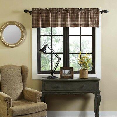Tan Primitive Kitchen Curtains Cinnamon Plaid Valance Rod Pocket Cotton |  Ebay In Red Primitive Kitchen Curtains (View 27 of 30)