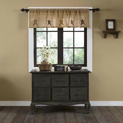 Tan Primitive Kitchen Curtains Sutton Burlap Star Valance Intended For Primitive Kitchen Curtains (#28 of 30)