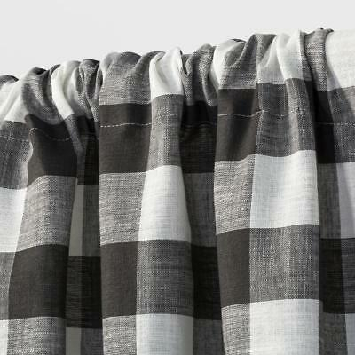 """Target Rod Pocket Cafe Tier Curtain Pair Charcoal Gray & Ivory Gingham 42""""  X 36"""" 