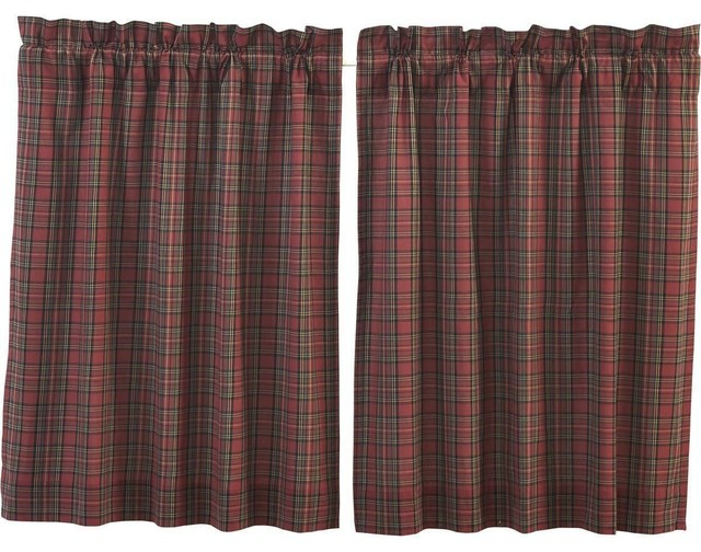 Tartan Red Plaid Tiers, 36X36 In Forest Valance And Tier Pair Curtains (View 27 of 30)