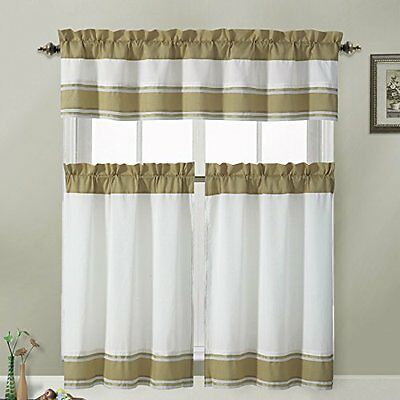Tatiana Ivory White Tan Striped Border Kitchen Curtains Set Regarding Ivory Micro Striped Semi Sheer Window Curtain Pieces (View 28 of 50)