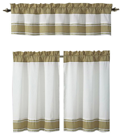 Tatianna Ivory White Brown Taupe Pintuck Striped Kitchen Curtain Set, 3  Piece With Pintuck Kitchen Window Tiers (#37 of 43)