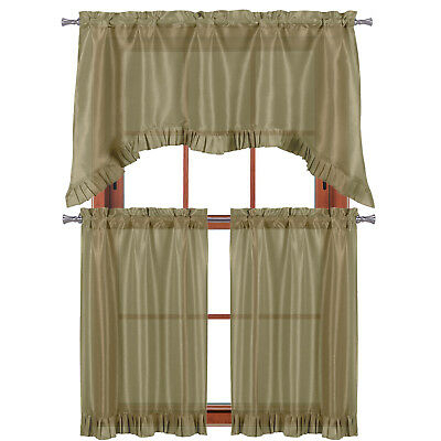 """Taupe 3 Pc Window Curtain Set: Pleated Ruffle, 1 Swag Valance, 2 36""""l Tiers 841643114958 