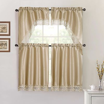 Taupe 4 Piece Kitchen Window Curtain Set: Macrame Border, 2 Swag/2 Tiers  8414560311827 | Ebay In Solid Microfiber 3 Piece Kitchen Curtain Valance And Tiers Sets (#39 of 50)