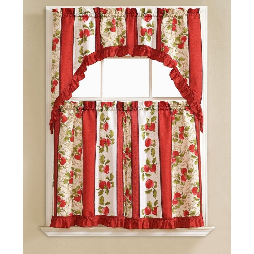Taylor Embroidered 3 Piece Kitchen Curtain Swag & Tiers Set, Red, 60X56 &  30X36 Inches Intended For Chardonnay Tier And Swag Kitchen Curtain Sets (View 47 of 50)