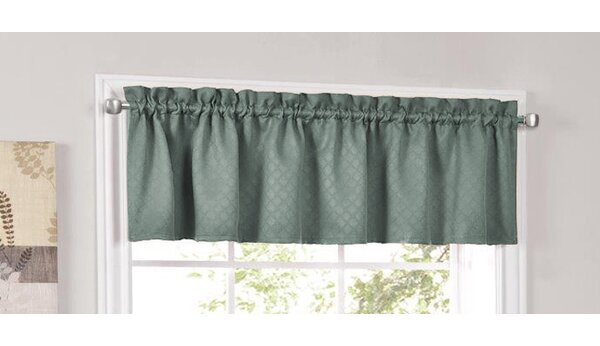 Teal Kitchen Valances | Wayfair With Imperial Flower Jacquard Tier And Valance Kitchen Curtain Sets (#36 of 46)
