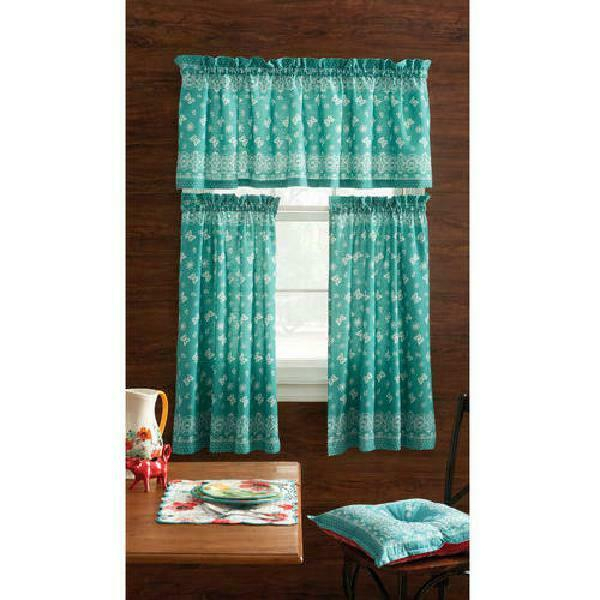 The Pioneer Woman Bandana 3Pc Kitchen Curtain And Valance Set, Teal | Ebay Inside Scroll Leaf 3 Piece Curtain Tier And Valance Sets (View 41 of 50)