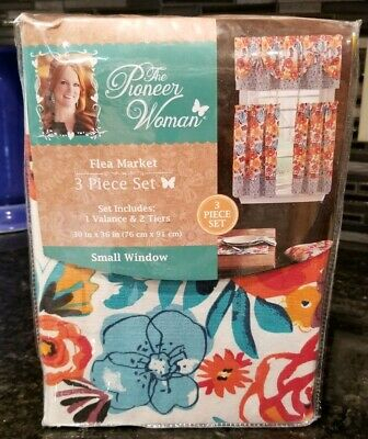 The Pioneer Woman Flea Market 3 Piece Kitchen Curtain Tier And Valance Set New   Ebay In Lodge Plaid 3 Piece Kitchen Curtain Tier And Valance Sets (View 11 of 30)
