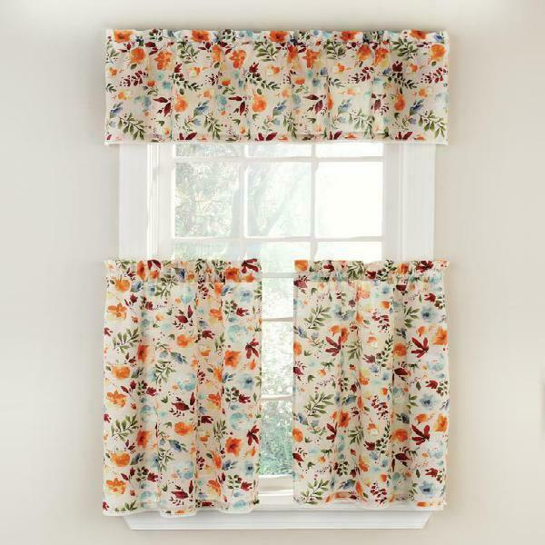 The Pioneer Woman Willow 3 Piece Kitchen Curtain Tier And Valance Set,  Machine W Throughout Grey Window Curtain Tier And Valance Sets (View 45 of 50)