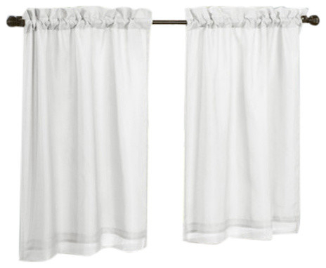 "Thermavoile Rhapsody European Style Voile Tailored Tiers, Set, Of 2, 54""x24"" With Regard To Barnyard Window Curtain Tier Pair And Valance Sets (View 45 of 50)"