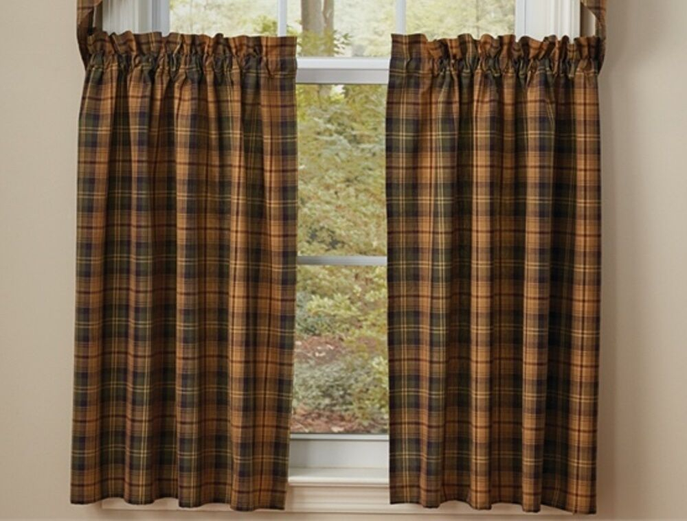 Thorton Tier Curtains 72Wx36L Green Navy Wine Gold Plaid Park Designs | Ebay Within Cotton Classic Toast Window Pane Pattern And Crotchet Trim Tiers (View 48 of 50)