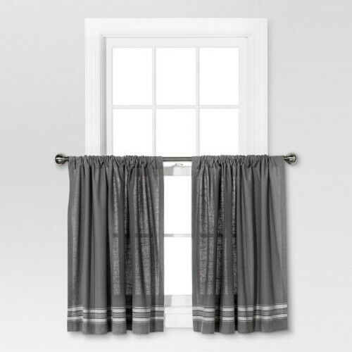 """Threshold Cafe Curtain Set Gray/cream Stripe Light Filtering 42X36"""" 2 Panels For Grey Window Curtain Tier And Valance Sets (View 46 of 50)"""