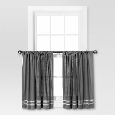 "Threshold Light Filtering Curtain Tiers – Gray/cream Stripe 42"" X 36"" Nwot 