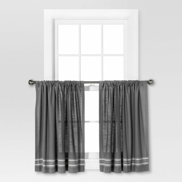 """Threshold Light Filtering Curtain Tiers – Gray/cream Stripe 42"""" X 36"""" Nwot For Waverly Felicite Curtain Tiers (#15 of 45)"""