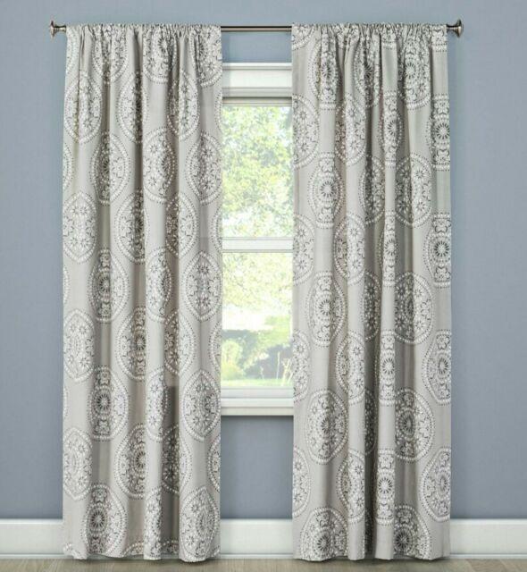 Threshold Tile Medallion Curtain Window Panel ~ 54×95 ~ Gray/grey White Within Medallion Window Curtain Valances (#40 of 48)