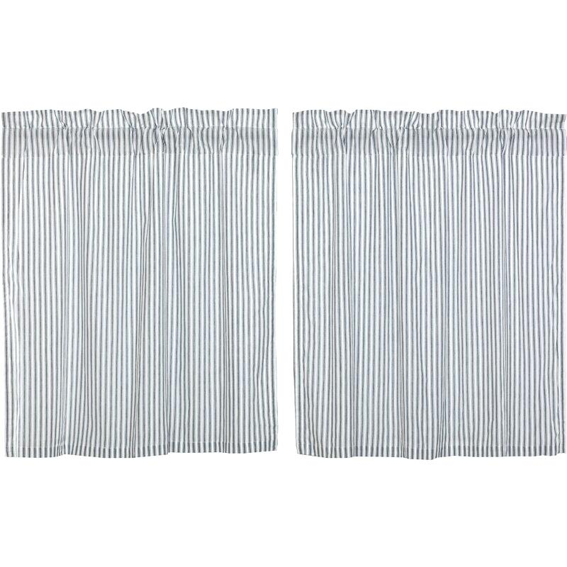 Ticking Stripe Curtains – Jjpainting Inside Classic Black And White Curtain Tiers (View 41 of 50)