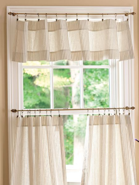 Popular Photo of Tailored Valance And Tier Curtains
