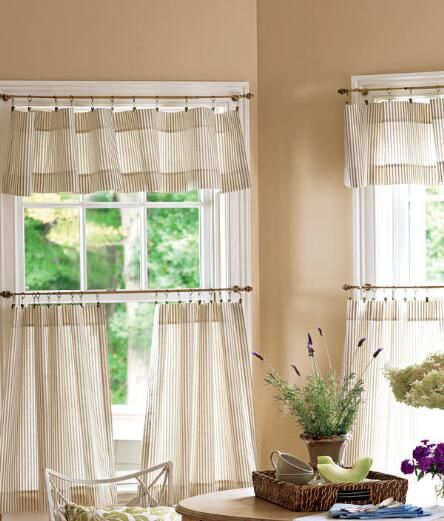 Ticking Stripes Cafe Curtains – Light Blue/pink – Pair In Farmhouse Stripe Kitchen Tier Pairs (View 19 of 30)