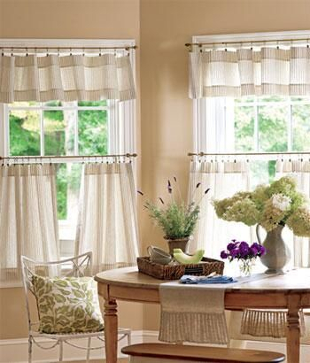 Ticking Stripes Tier Curtains – Country Curtains® | Trailer Regarding Oakwood Linen Style Decorative Curtain Tier Sets (View 22 of 30)