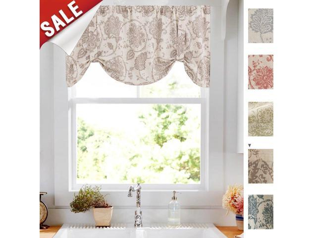 Tie Up Valances For Windows Jacobean Floral Printed Tie Up Valances For Kitchen Windows Flax Linen Textured Medallion Design Tie Up Shade Window Regarding Medallion Window Curtain Valances (View 26 of 48)