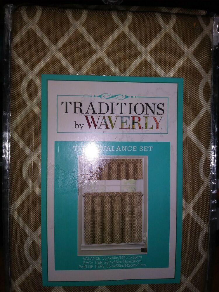 "Tier And Valance Set Traditionswaverly – Ellis Natural Tan 56"" X 36"" 