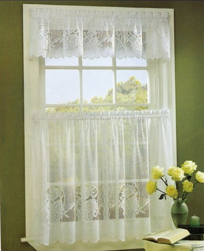 Tier Kitchen Curtain Swag Valance,flower Lace Curtain 3Pcs Kitchen Curtain Tiers And Valance – Buy Lace Curtain,tiers And Valace,lace Kitchen Curtain With Regard To Kitchen Curtain Tiers (View 12 of 50)