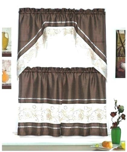 Tier Kitchen Curtains Coffee Curtains Coffee Kitchen Inside Floral Embroidered Sheer Kitchen Curtain Tiers, Swags And Valances (View 43 of 50)
