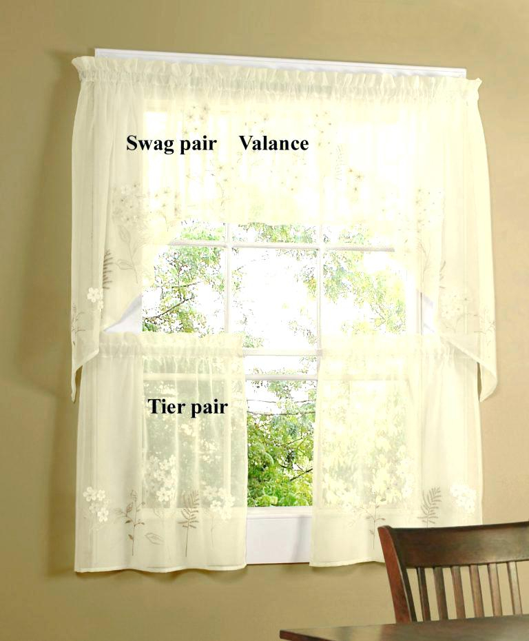 Tier Kitchen Curtains Lace Cafe Curtains Two Tier Kitchen Pertaining To Semi Sheer Rod Pocket Kitchen Curtain Valance And Tiers Sets (View 38 of 50)