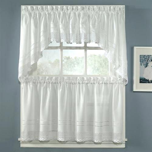 Tiered Valances Crochet Tailored Tier Pair White X – Woodspeak With Regard To Tailored Valance And Tier Curtains (View 42 of 50)