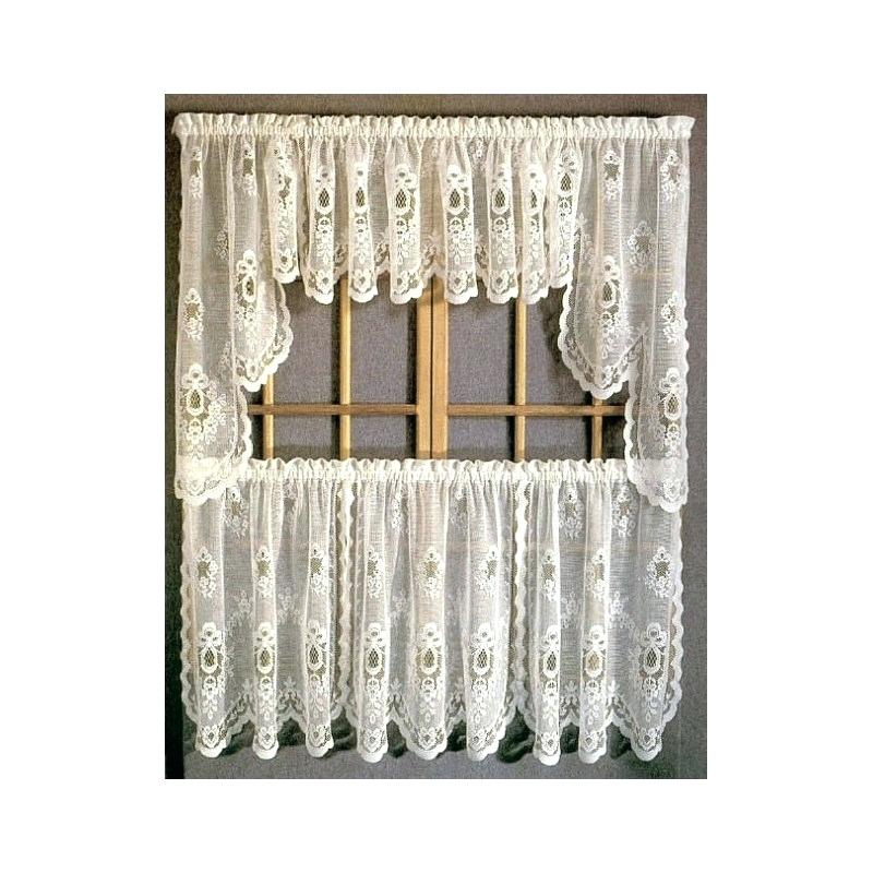Tiered Valances Sterling Lace Kitchen Curtains With Tier With Regard To Floral Lace Rod Pocket Kitchen Curtain Valance And Tiers Sets (View 47 of 50)