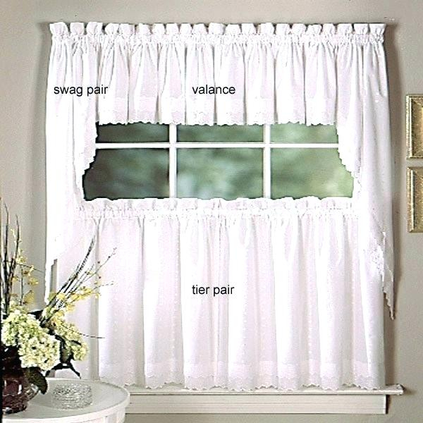 Tiered Valances Sterling Lace Kitchen Curtains With Tier Within Floral Embroidered Sheer Kitchen Curtain Tiers, Swags And Valances (View 47 of 50)