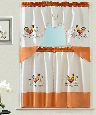 Tina Rooster Embroidery Kitchen Curtain With Swag And Tier Set 36 In Orange    Ebay In Multicolored Printed Curtain Tier And Swag Sets (View 24 of 30)