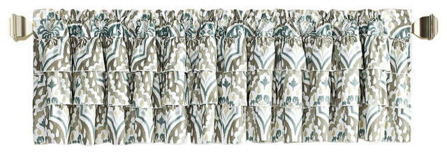 "Tivoli Ikat Valance Set, Blue/gray, 52""x20"" Within Solid Microfiber 3 Piece Kitchen Curtain Valance And Tiers Sets (#41 of 50)"