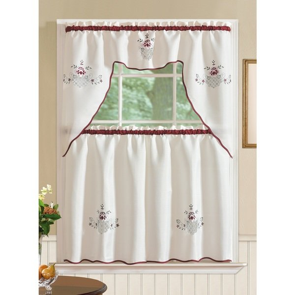 Tobewhite Regarding Imperial Flower Jacquard Tier And Valance Kitchen Curtain Sets (#37 of 46)