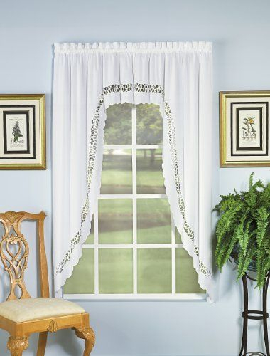 Today's Curtain Hellina Tapework Window Swagger, 63 Inch Within Spring Daisy Tiered Curtain 3 Piece Sets (View 28 of 30)