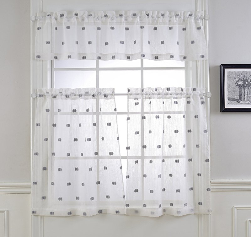 Today's Curtain Plymouth Classic Battenburg Applique Sheer In Classic Black And White Curtain Tiers (View 44 of 50)
