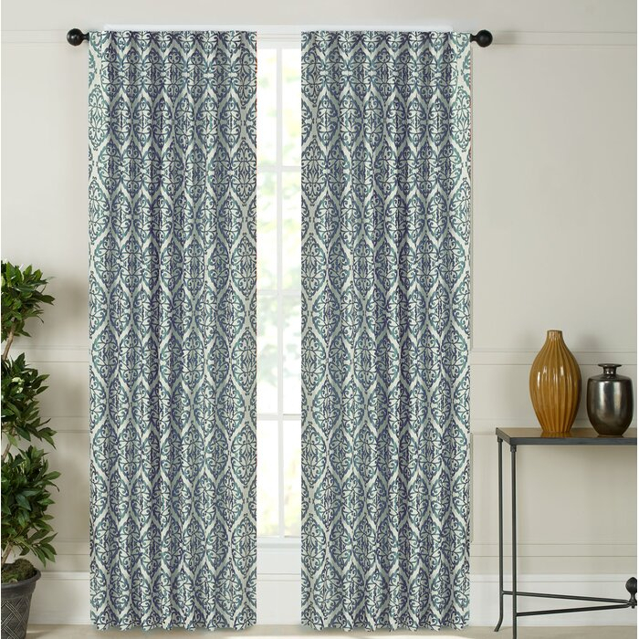 Tokyo Geometric Room Darkening Rod Pocket Curtain Panels For Pastel Damask Printed Room Darkening Kitchen Tiers (#40 of 50)