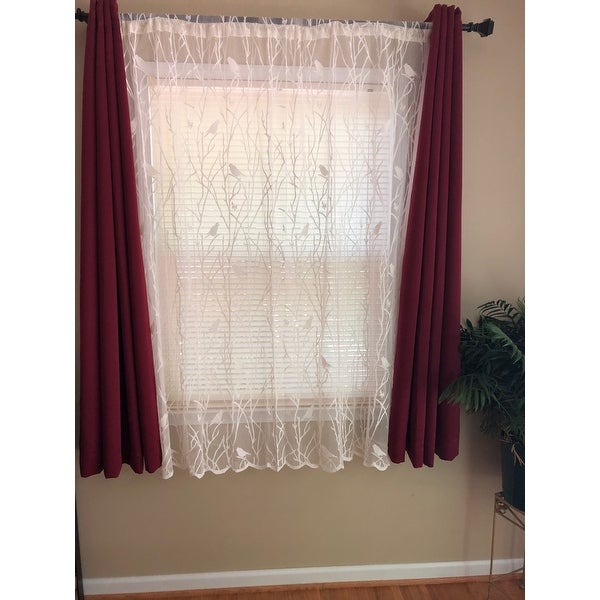 Top Product Reviews For White/ivory 56 Inch X 63 Inch Knit Throughout Ivory Knit Lace Bird Motif Window Curtain (View 41 of 50)