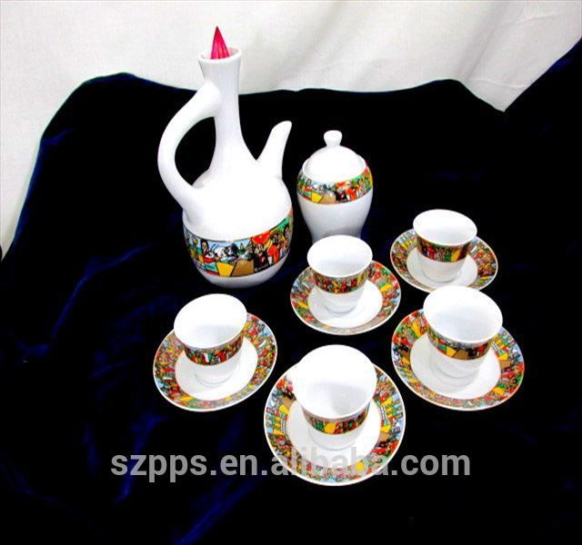 Traditional Art Ethiopian Coffee Set Sheba Coffee Cups Set For Embroidered 'coffee Cup' 5 Piece Kitchen Curtain Sets (View 27 of 30)