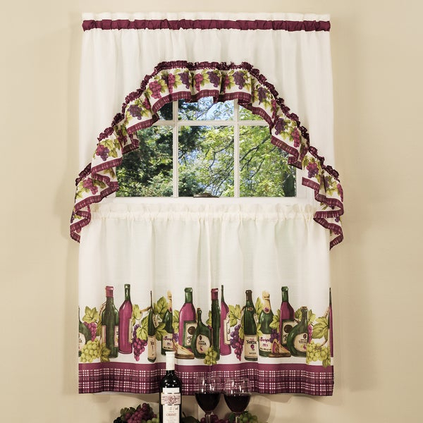 Inspiration about Traditional Two Piece Tailored Tier And Swag Window Curtains Set With Classic French Wine And Grapes Print – 36 Inch In Traditional Two Piece Tailored Tier And Valance Window Curtains (#3 of 50)